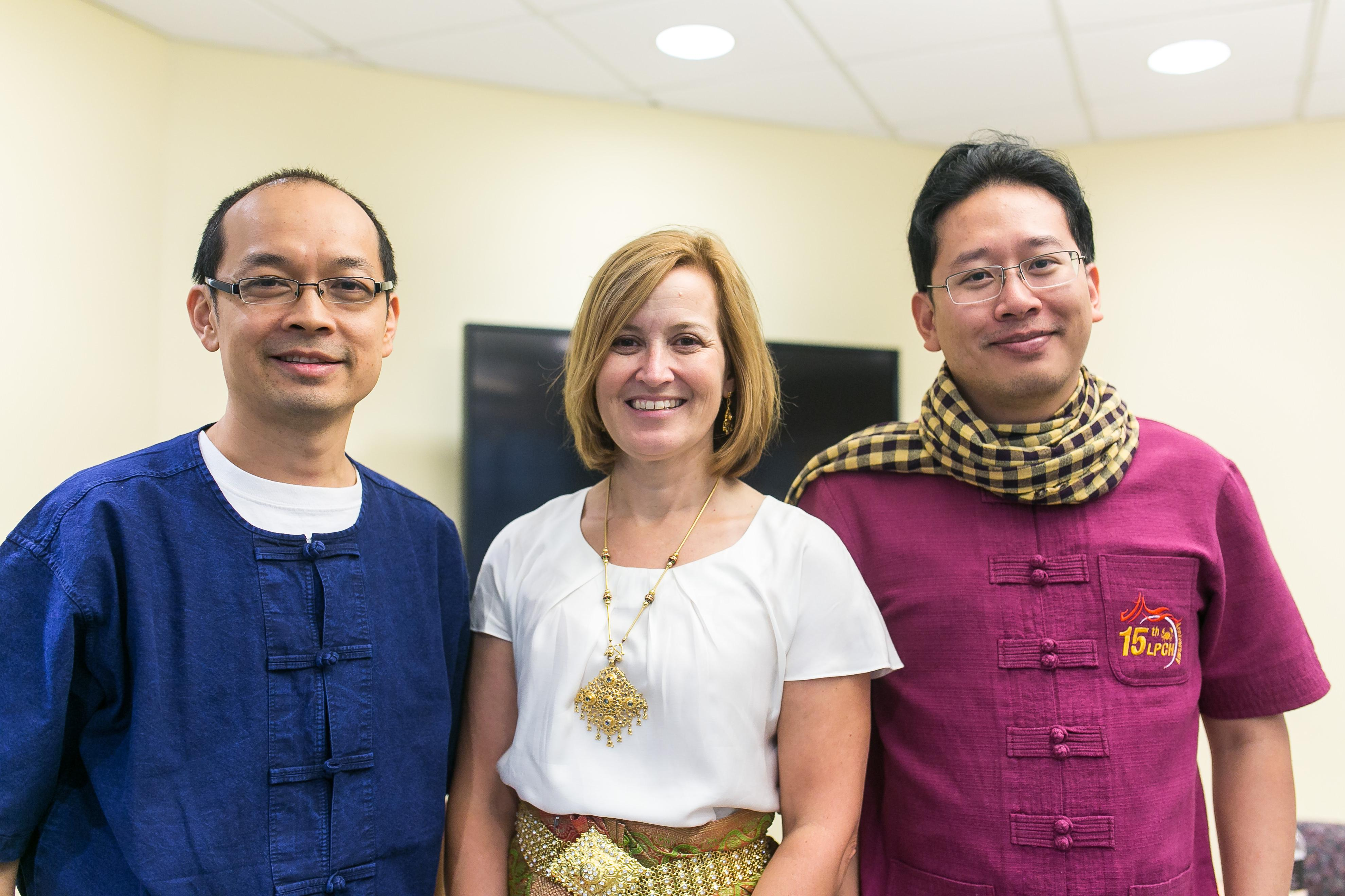 Laura Rozek with Dr. Patravoot Vatanasapt (left) from Khon Kaen University and Dr. Donsuk Pongnikorn (right) from Lampang Cancer Hospital in Thailand. Dr. Vatanasapt and Dr. Pongnikorn were invited speakers for the UM-Thai Symposium on Cancer and NCDs in August 2016.
