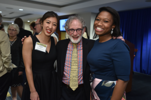 Peter with former students, Pauline Do and Jennifer Dingle.