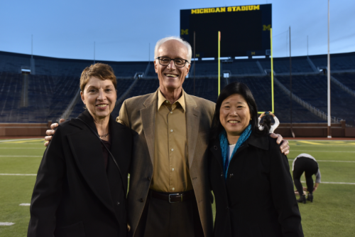 Public Health Professor and Interim Dean Cathleen Connell, with former Dean and Emeritus Professor Ken Warner and GLC Board member Debbie Chang