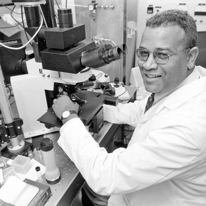 Philbert in his toxicology lab ca. 2000.