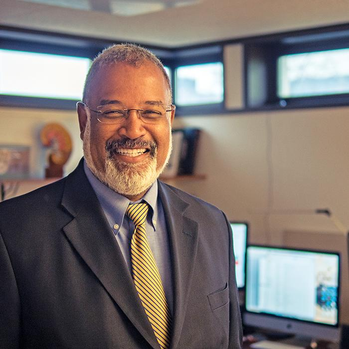 New U-M Provost Martin Philbert in his office, 2017.