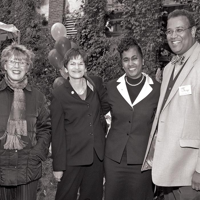 Philbert with (l-r) former Michigan Public Health Dean Noreen Clark, former Ann Arbor mayor Liz Brater, and former adjunct faculty member and former Surgeon General for the State of Michigan Kimberlydawn Wisdom at the groundbreaking ceremony for the Michigan Public Health Crossroads expansion.