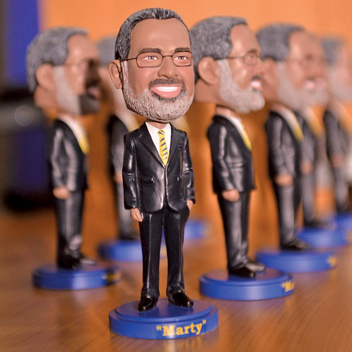 Philbert bobbleheads, a sought-after souvenir around the School of Public Health.