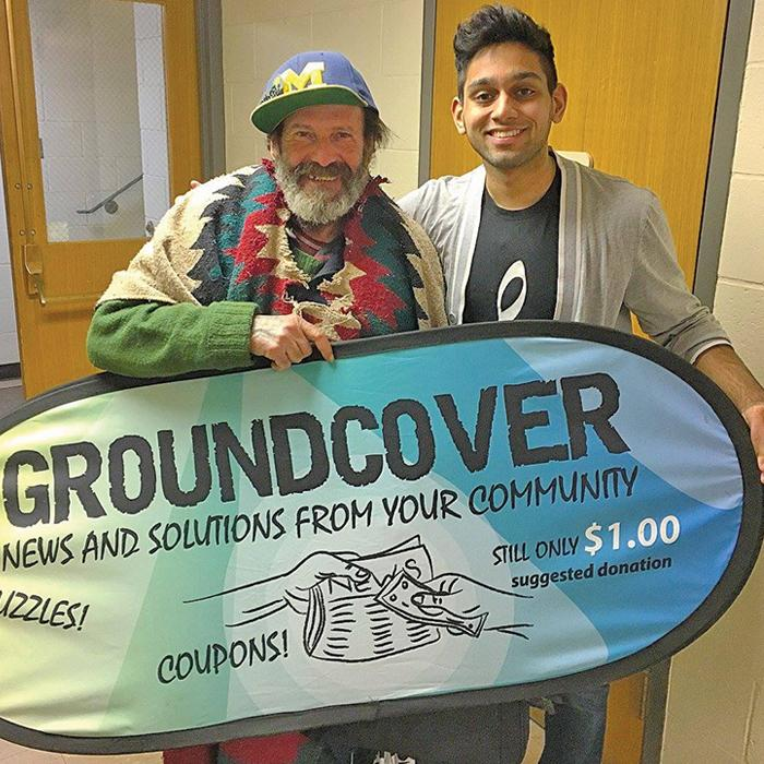 Ali with Groundcover vendor Roberto