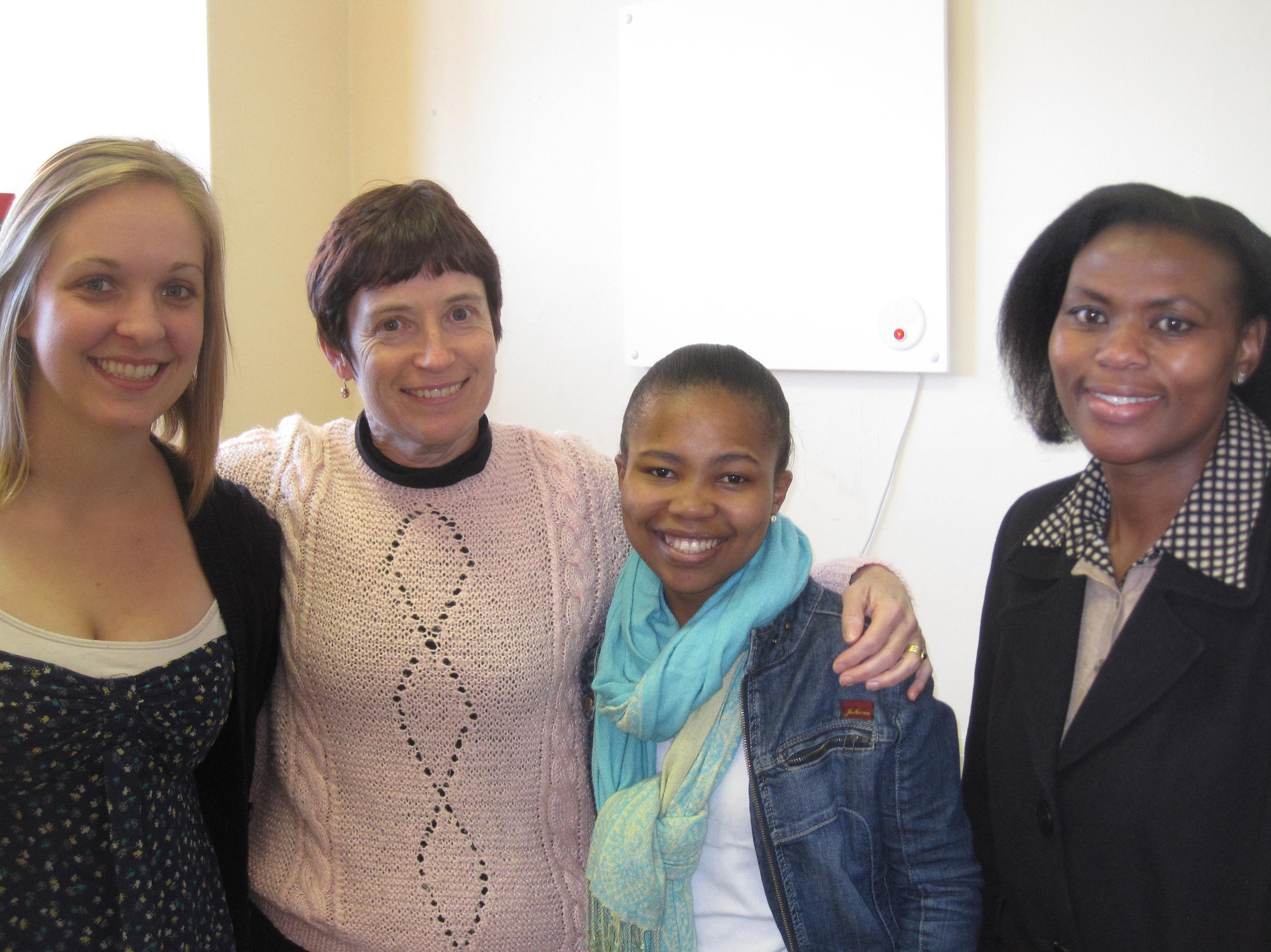 Mica Blauw (left) with the research team in South Africa, including Barbara Laughton (second from left), the pediatrician who led the study.