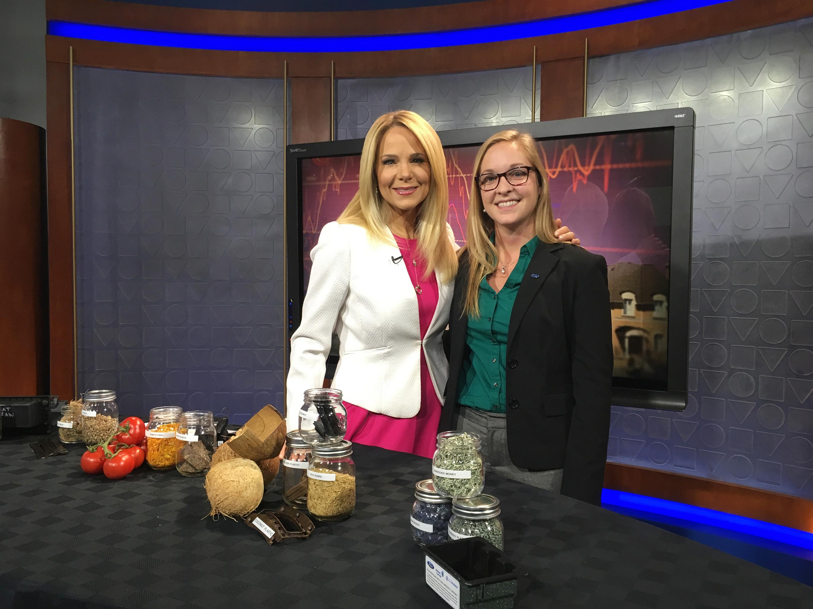 Mica Blauw on set with an Alberta, Canada television station where she was making a media appearance on behalf of Ford Motor Company.