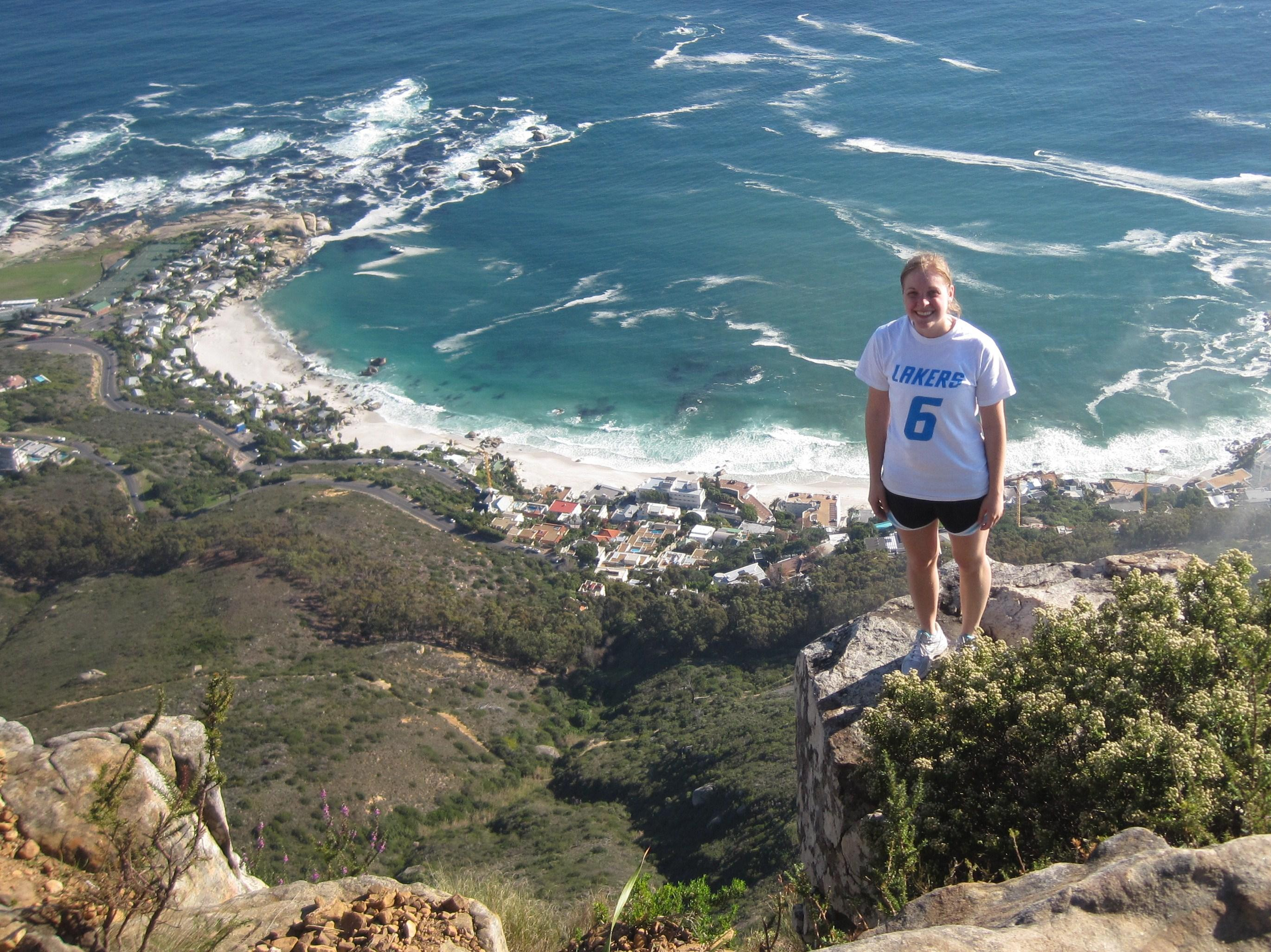Mica Blauw hiking Lions Head in Cape Town, South Africa.