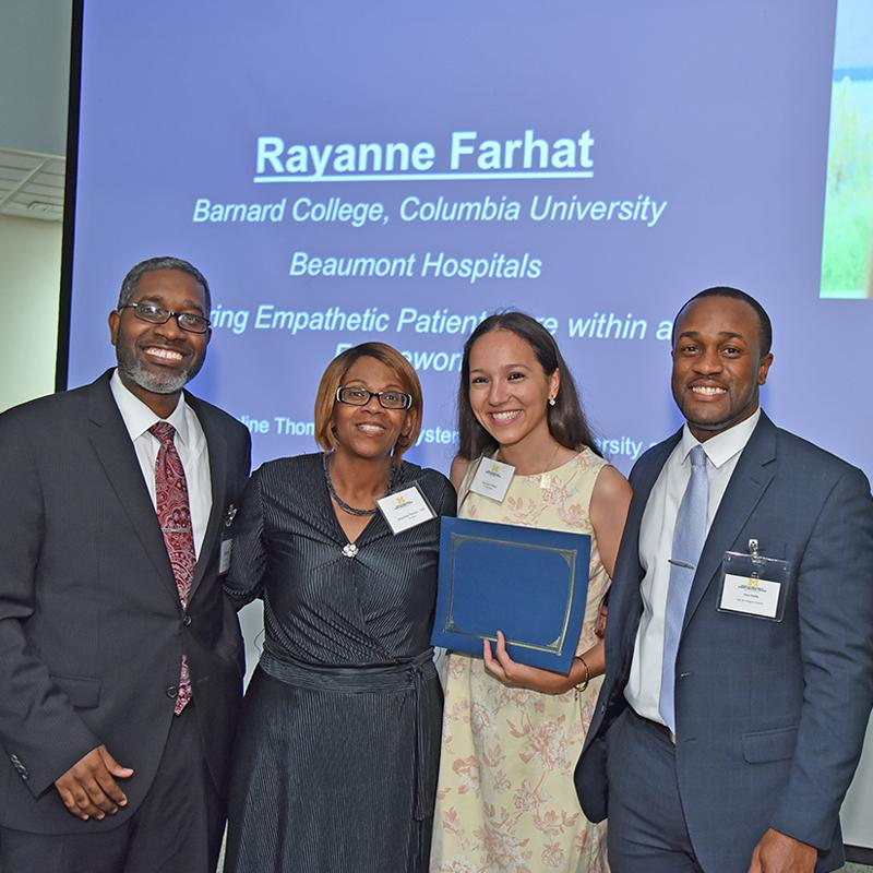 Ebbin Dotson, Jacqueline Thomas-Hall (System Director, Diversity and Inclusion, Beaumont Health), Rayanne Farhat (UMSEP '17), and Christopher Clarke