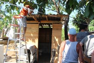 The volunteers were able to complete the bano by building the structure and plumbing. The bano provides a more sanitary way for the family and their community to dispose of waste.