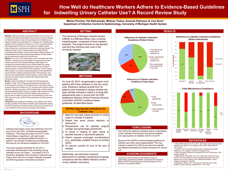 How Well do Healthcare Workers Adhere to Evidence-Based Guidelines for Indwelling Urinary Catheter Use? A Record Review Study by Marisa Pinchas