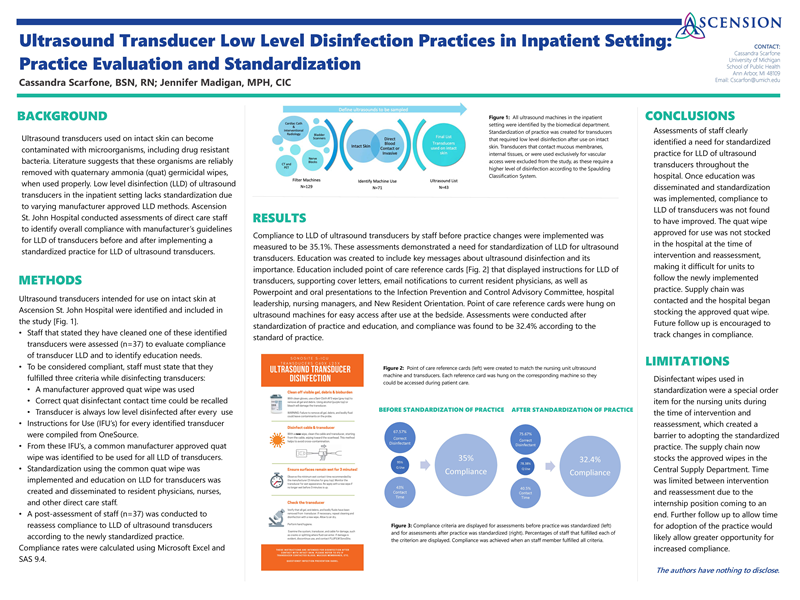 """""""Ultrasound Transducer Low Level Disinfection Practices in Inpatient Setting: Practice Evaluation and Standardization"""" by Cassandra Scarfone"""