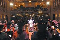 Photo of Noreen Clark speaking at 2004 U-M SPH convocation at Michigan Theatre