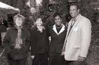Photo of Noreen Clark at 2003 U-M SPH Groundbreaking ceremony with (L-R) Liz Brater, Kimberlydawn Wisdom, and Martin Philbert