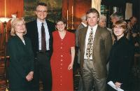 Photo of Patricia Ruppel, MPH 1976, Michael Boehnke, Betsy Foxman, (unidentified), and Noreen Clark, 2010