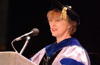 Photo of Noreen Clark speaking at 2005 U-M SPH commencement