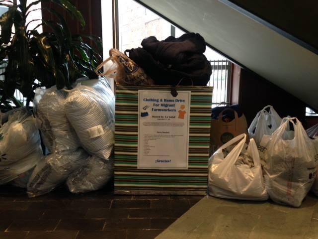 Students collected warm clothing, jackets, hats, gloves, shoes and other cold weather items for migrant farm workers.