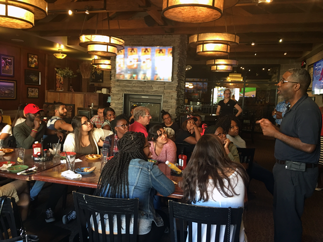 SEP 2016 Students on a Friday site visit in Flint at Blackstone's Pub discussing with Dr. Dotson.  Lunch followed a great Flint Neighborhood Tour by Armed Forces Veteran Gerald Battle and Flint Historian Dr. Lee Bell.