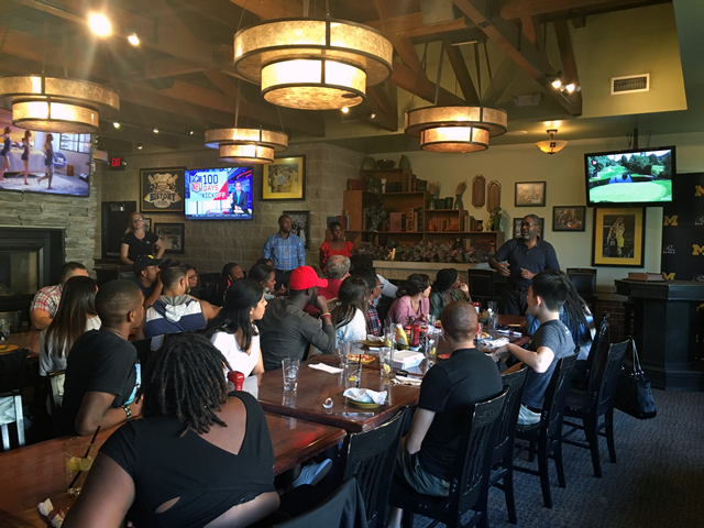 SEP 2016 Students on a Friday site visit in Flint at Blackstone's Pub discussing with Dr. Dotson the Flint Neighborhood Tour by Armed Forces Veteran Gerald Battle and Flint Historian Dr. Lee Bell.
