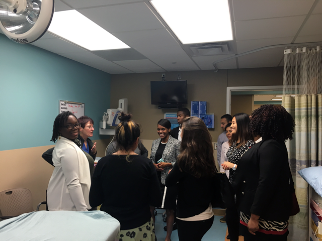 SEP 2016 students touring Hurley Medical Center in Flint, MI during one of the Friday site visits.  Visibly Pictured (L-R): Deja Knight, Liz Lopez, Tere Cooley, Alban George, Katie Nerses, Karam Gagi, Doris Valle-Rayo, Jessica Leung, and Lisa Williams.