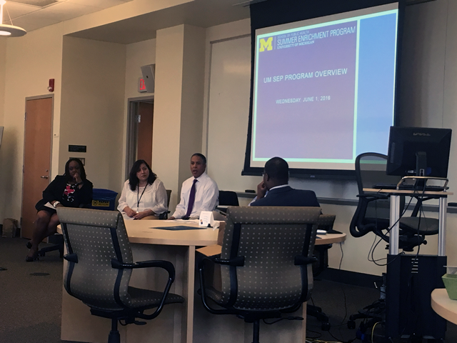 SEP 2016 Orientation Preceptor and Alumni Panel. L-R: Leseliey Welch (SEP '99), Rosalind Garcia-Tosi (SEP '91 and SEP Preceptor), Alonzo Lewis (SEP '90 and SEP Preceptor), and Moderator Olushola Samuel (SEP '09).