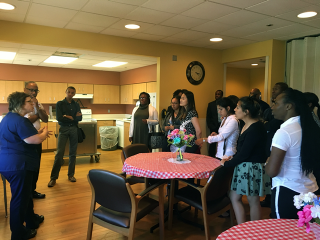 SEP 2016 students touring Hurley Medical Center in Flint, MI during one of the Friday site visits.  Visibly Pictured (L-R): Matthew Crumpton, Deja Knight, Natalie Reid, Christopher Clarke, Doris Valle-Rayo, Liz Lopez, A'ja Johnson, and Alban George.