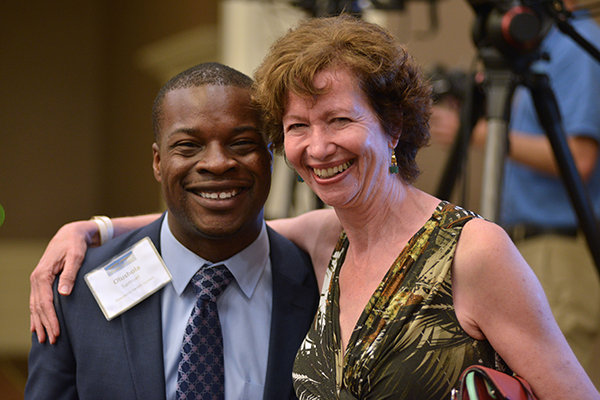 Marianne Udow-Phillips, Director of the Center for Healthcare Research & Transformation and GLC Advisory Board member with Olushola Samuel of Beaumont Health System: HMP alumni and friends.