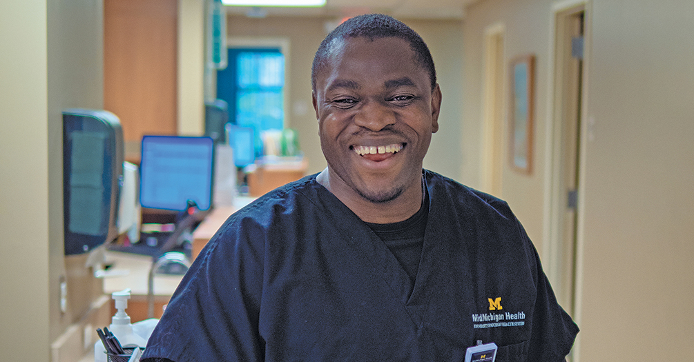 Utibe Effiong, MPH '14, internal medicine physician at the MidMichigan Health Center in Mount Pleasant
