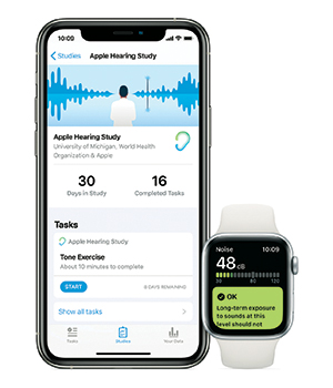 Apple Watch and iPhone running data on a noise study