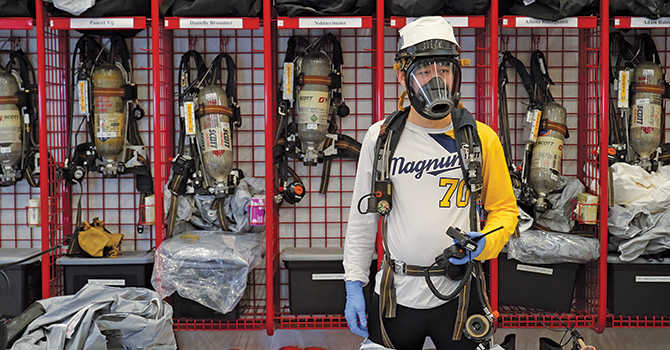 Chenxi Sun, MPH '20, prepares to participate in HAZWOPER training.