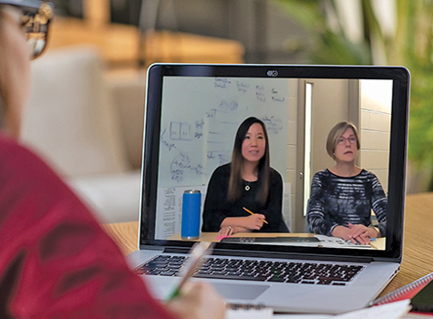 Cindy Leung and Karen Peterson teach an online master's course