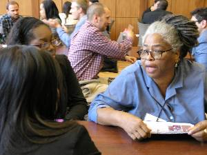 Chinyere Neale meets with students