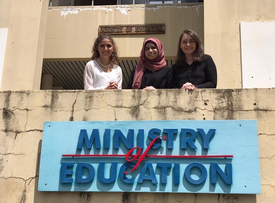 Marlene, Souad, and Muriel outside the Minsitry of Education in Grenada