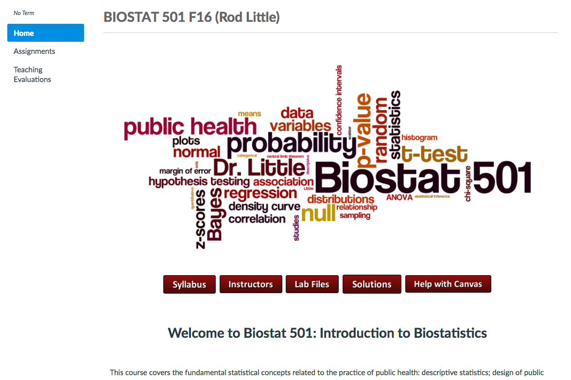 Canvas course for BIOSTAT 501