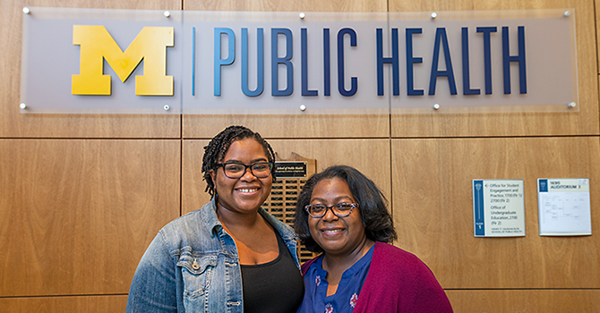 Former Future Public Health Leaders Program (FPHLP) student Sade Richardson with FPHLP director Dana Thomas
