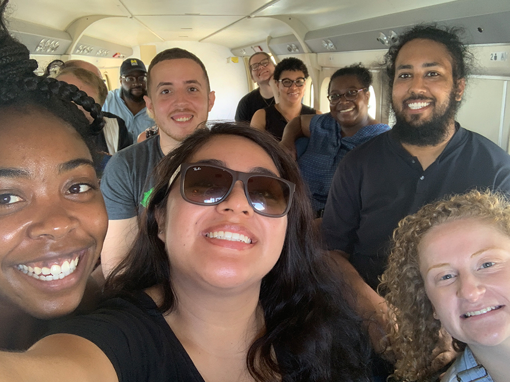 PHAST student and staff members on board the sea plane traveling from St. Croix to St. Thomas (in picture: Kayla Hunter, Malcolm Cunningham, Mislael Valentin Cortes, Quetzabel Benavides, Emily Dejka, Cindra James (Washtenaw County Health Department), Dana Thomas, Jasdeep Kler, Anna Bowie)