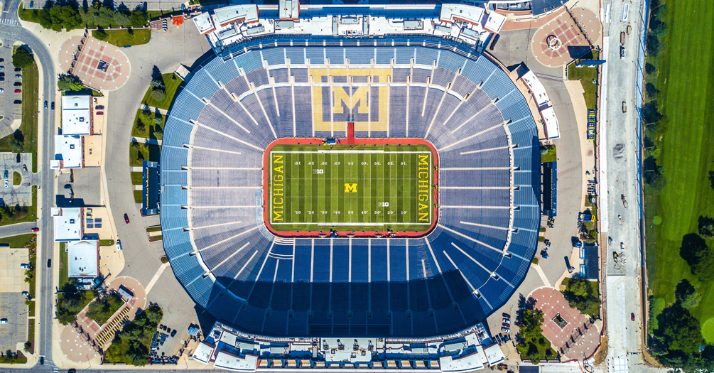 Aerial view of Michigan Stadium, the