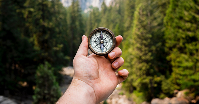 A person holding a compass in a forest.