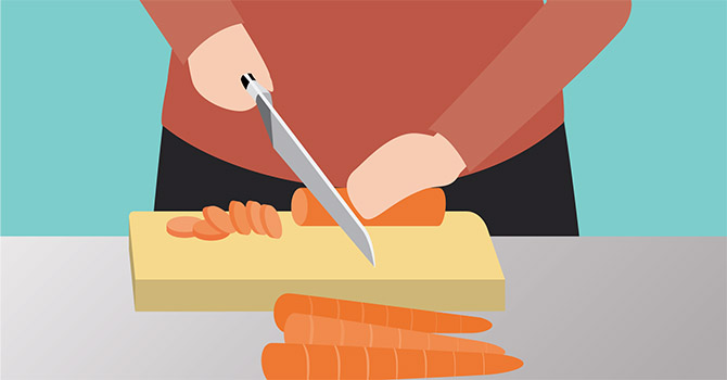 Illustration of a person cutting carrots on a cutting board.