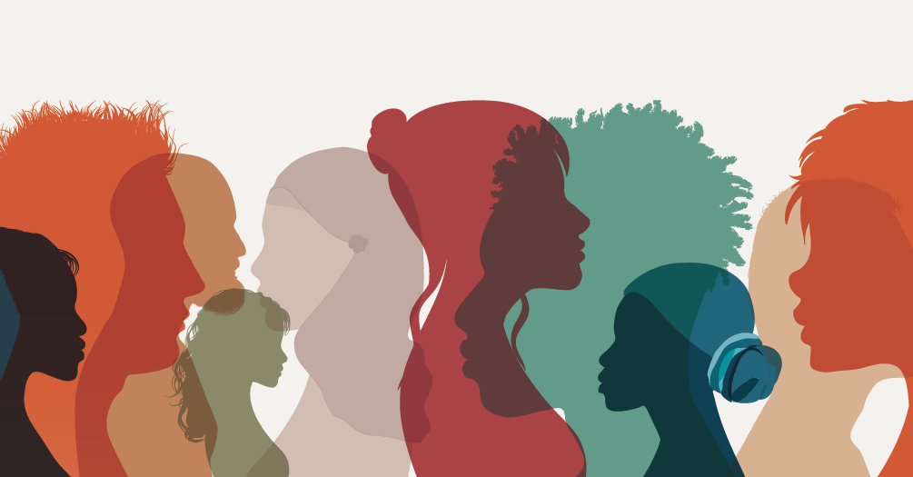 Silhouettes of a diverse group of people.