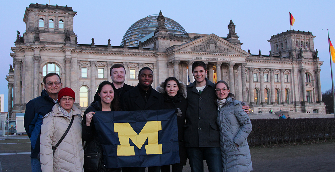 Michigan Public Health students and faculty in front of the Reichstag building in Berline