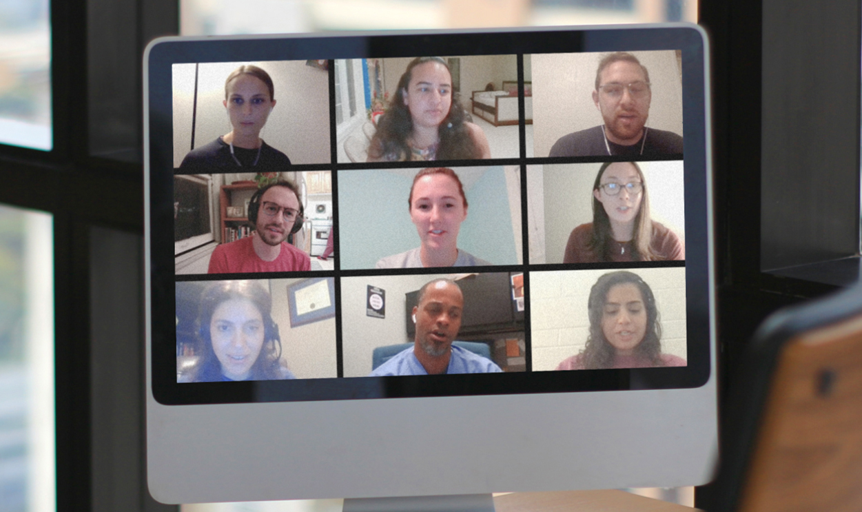 students on a video calls
