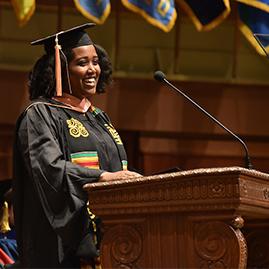 Lello Guluma speaking at the 2019 Michigan Public Health Graduation Ceremony