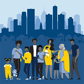 illustration of a group of people and the Detroit skyline