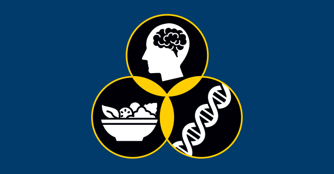 Illustration of food, DNA, and mental health