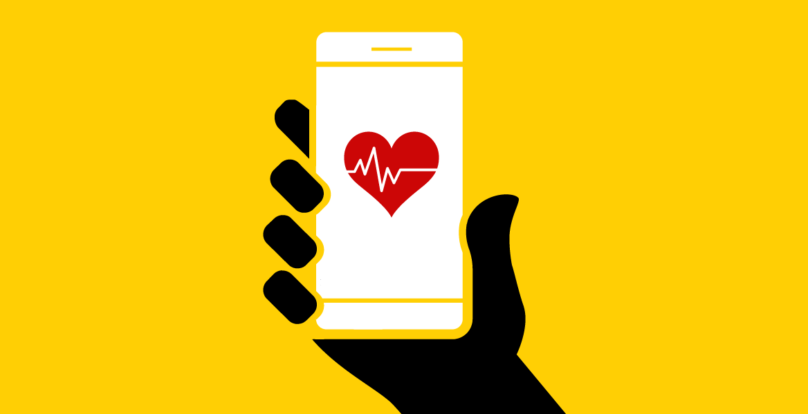 illustration of a mobile phone show a heart health monitoring app