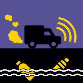 illustration of a delivery truck driving through a polluted enviornment