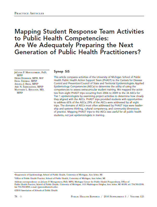Mapping Student Response Team Activities to Public Health Competencies