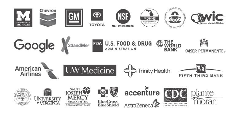 logos of places where Michigan Public Health alumni work