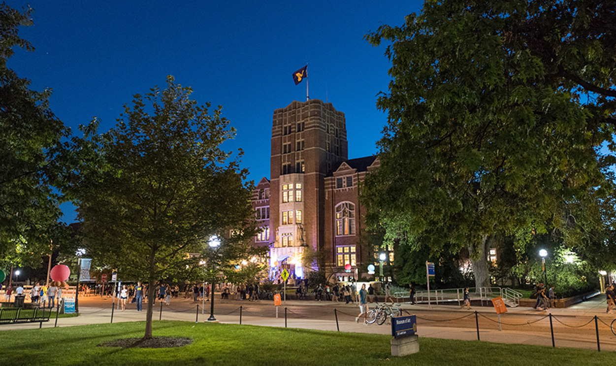 University of Michigan campus at night
