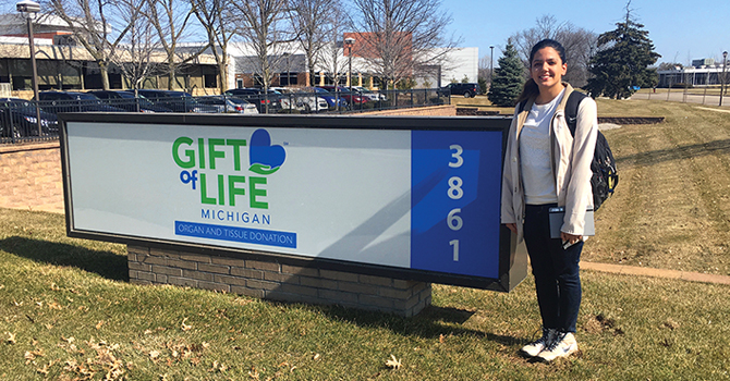 Kashvi Gupta outside the Gift of Life Michigan offices.